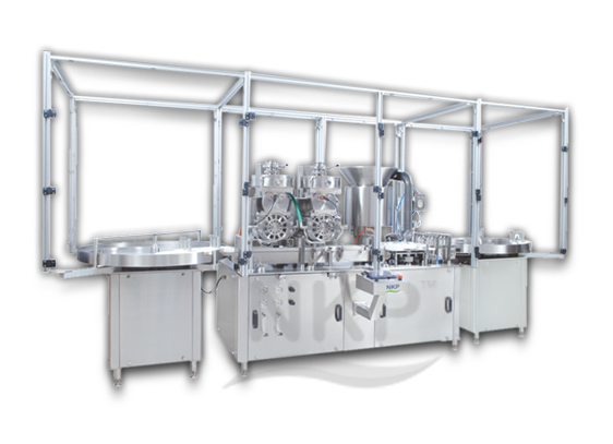N.K.P.Pharma offers automatic injectable powder filling with rubber stoppering machine.
